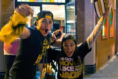 Allan Royer and Ashley Irvine celebrated on Causeway Street after the win.